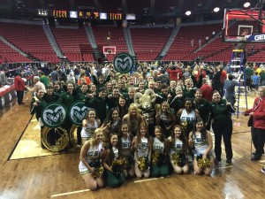 Pep Band and Spirit Squad on court after win