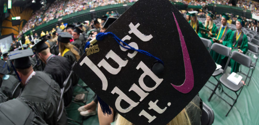 Mortarboard with Just Did It added in Moby Arena