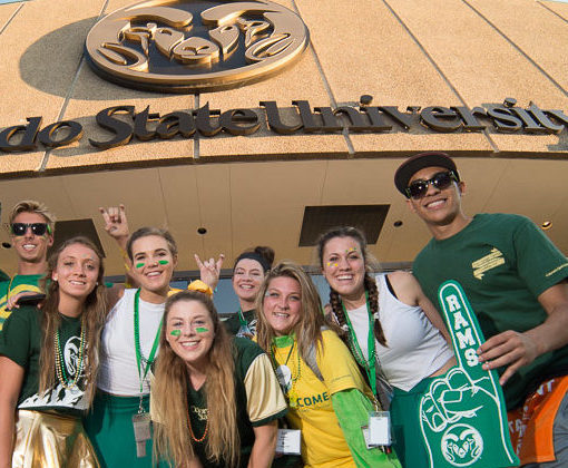 Students in front of Moby Arena