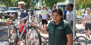 "New Colorado State University students register their bicycles and learn about bike safety at ""We Ride' during 2016 Ram Welcome, August 20, 2016"