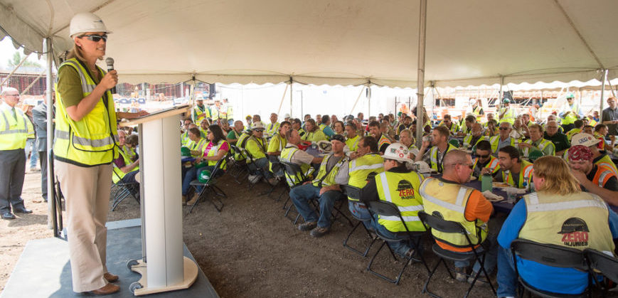 The Mortenson Construction crew and the CSU Athletics community gather for the Topping-Out Ceremony for Colorado State University's new Football stadium. August 2, 2016