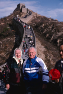 Genny and Warren Garst at the Great Wall of China. Photo from the Warren and Genevieve Garst Photographic Collection, Morgan Library Archives and Special Collections.
