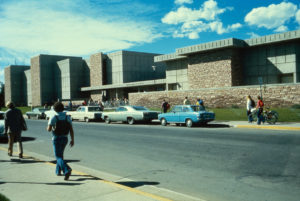 A view of the east entrance area of the Chemistry building recently after it was constructed in the early 1970s. Credit, University Historic Photograph Collection, Colorado State University.