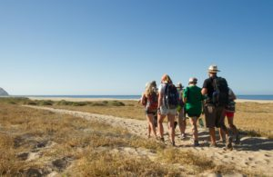 Students hike to the beach during a recent Fish, Wildlife & Conservation Biology class at the CSU Todos Santos Center.