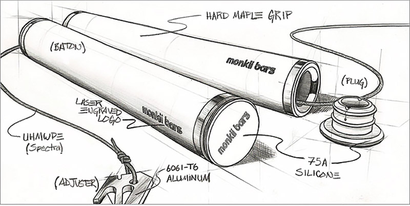 A concept sketch of the original MONKII BARS from David Hunt's campaign.