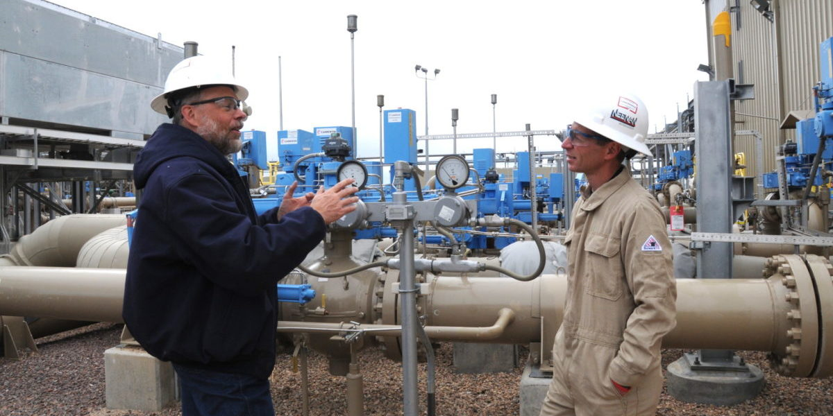 Dan Zimmerle and Anthony Marchese at natural gas site