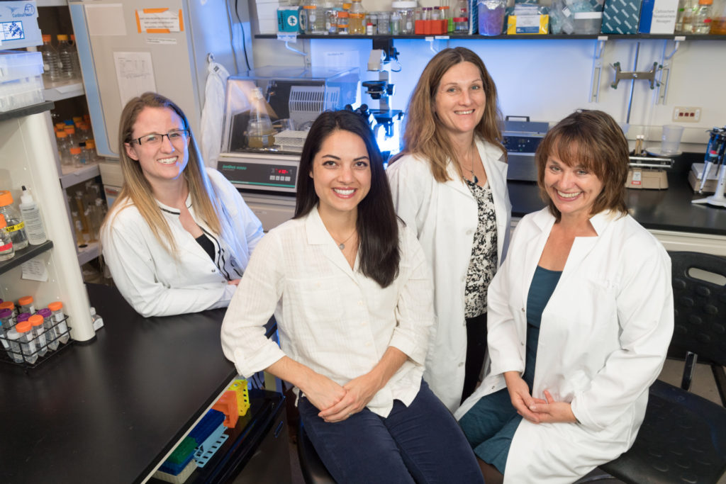 Danielle Adney, first year DVM student, Sue VandeWoude, Professor of Microbiology Immunology and Pathology and Associate Dean for Research, Candace Mathiason, Assistant Professor of Microbiology, Immunology and Pathology, and Cori Wong, Special Assistant to the President and Director of the Women & Gender Collaborative, November 8, 2016