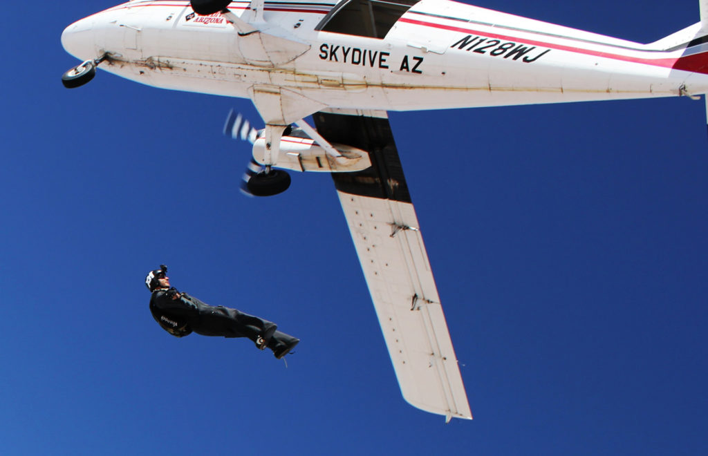 Bernard Dime exits a plane in a skydiving wingsuit. (Provided by Bernard Dime)