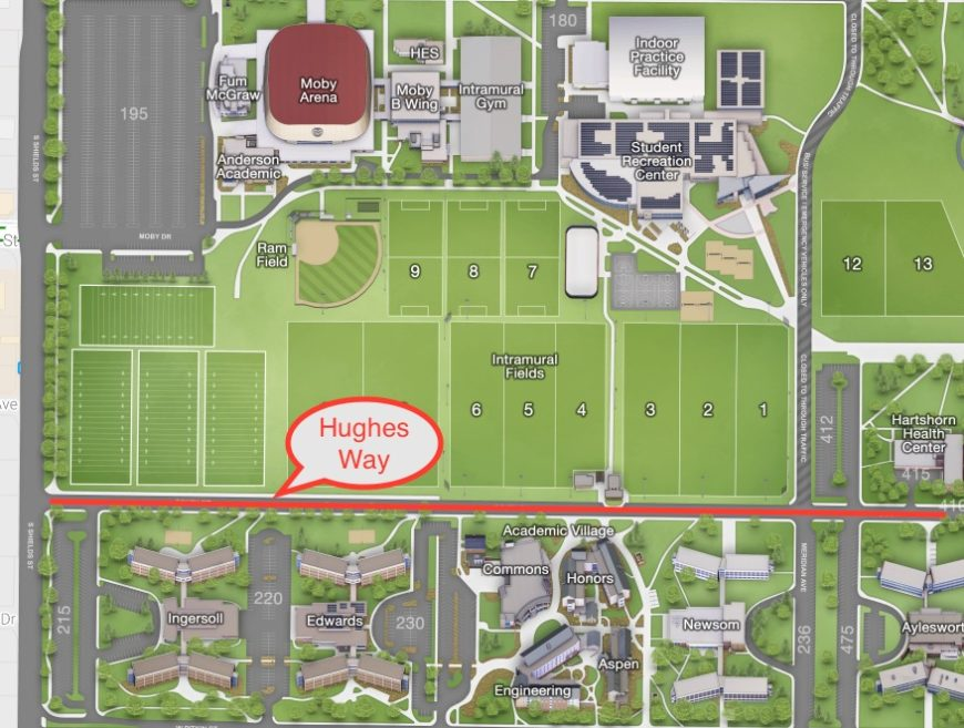 campus map with Hughes Way highlighted