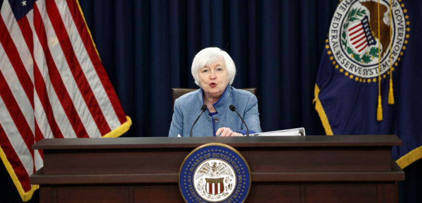 Federal Reserve Board Chair Janet Yellen speaks during a news conference