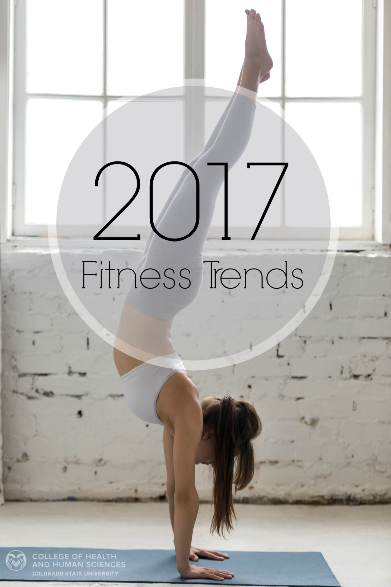 Woman doing yoga. Text: 2017 fitness trends