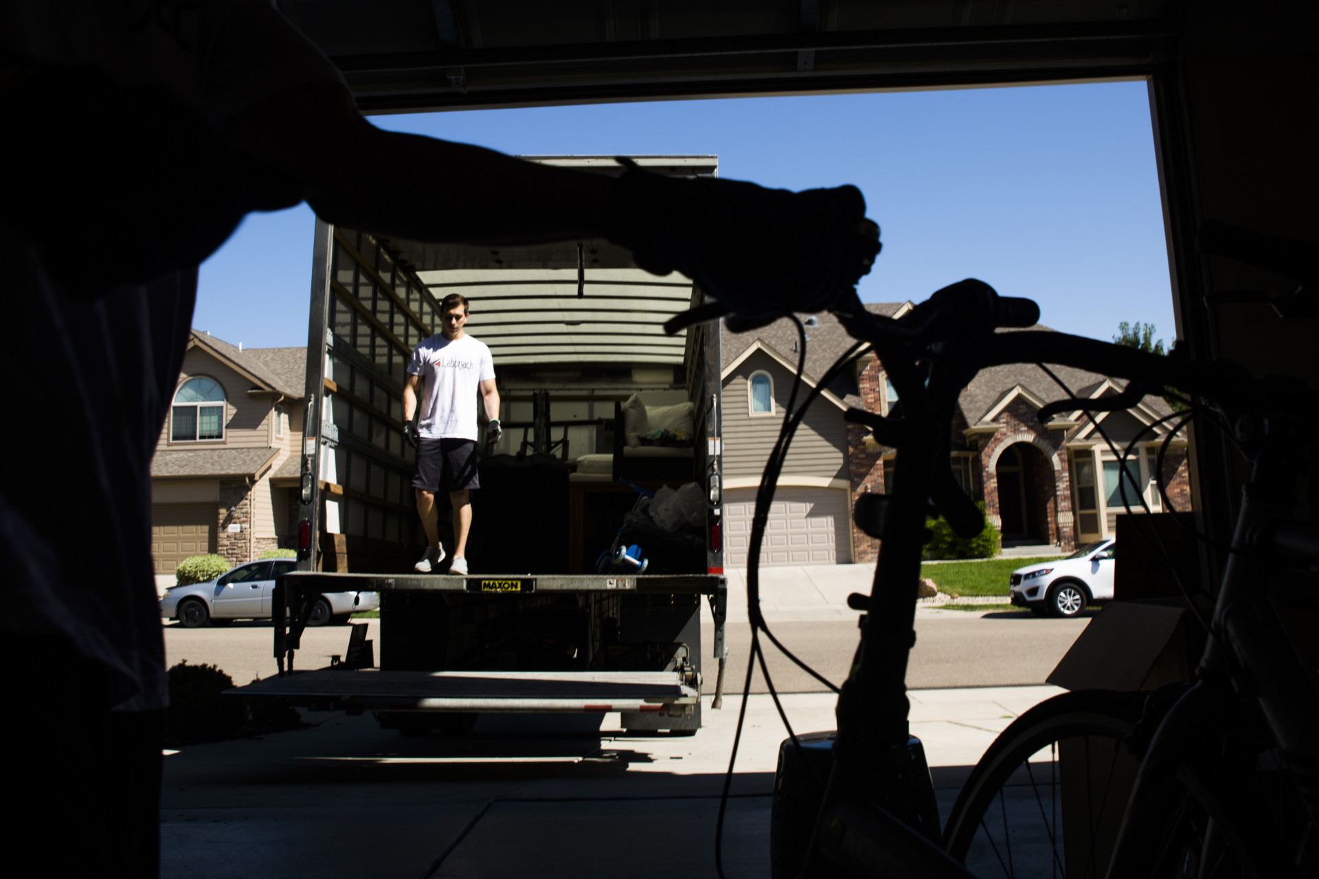 Laborjack mover exits moving van