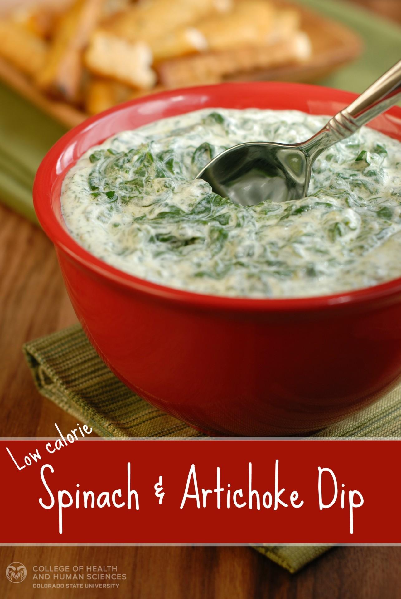 low calorie Spinach Artichoke Dip