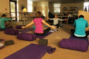Stacey Nichols leads a yoga class