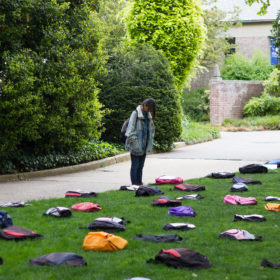 Emotionally powerful display features empty backpacks representing suicides