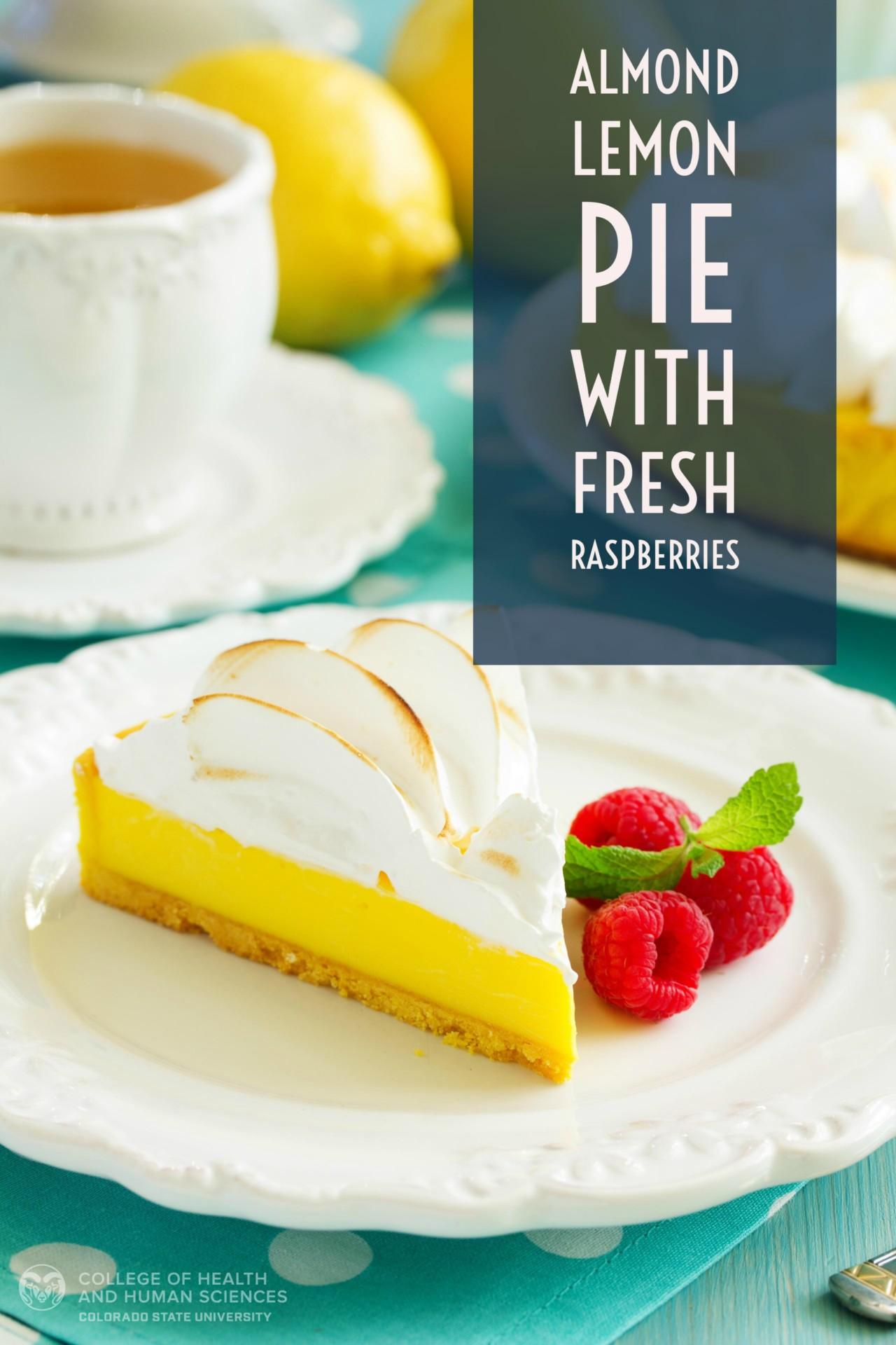 almond lemon pie with raspberries