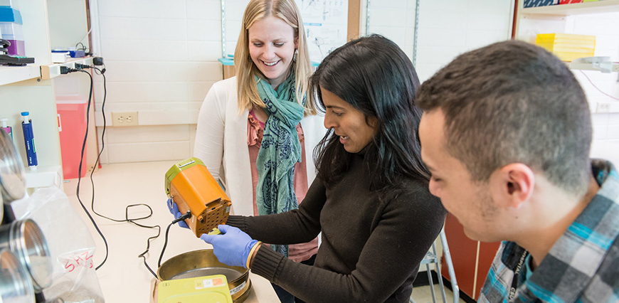 Colorado State University Environmental and Radiological Health Sciences assistant professor Elizabeth Ryan, center, discusses research methods with research associates Erica Borresen and Dustin Brown, January 6, 2015.