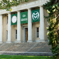 "The Administration Building has a ""Go Green"" banner hanging in honor of the new students. August 21, 2013"