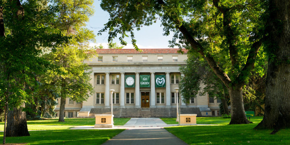 Administration building with Go Green banner