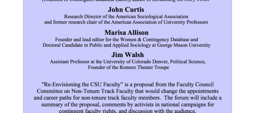 Panel discussion on 'Re-envisioning the CSU Faculty' set for April 27