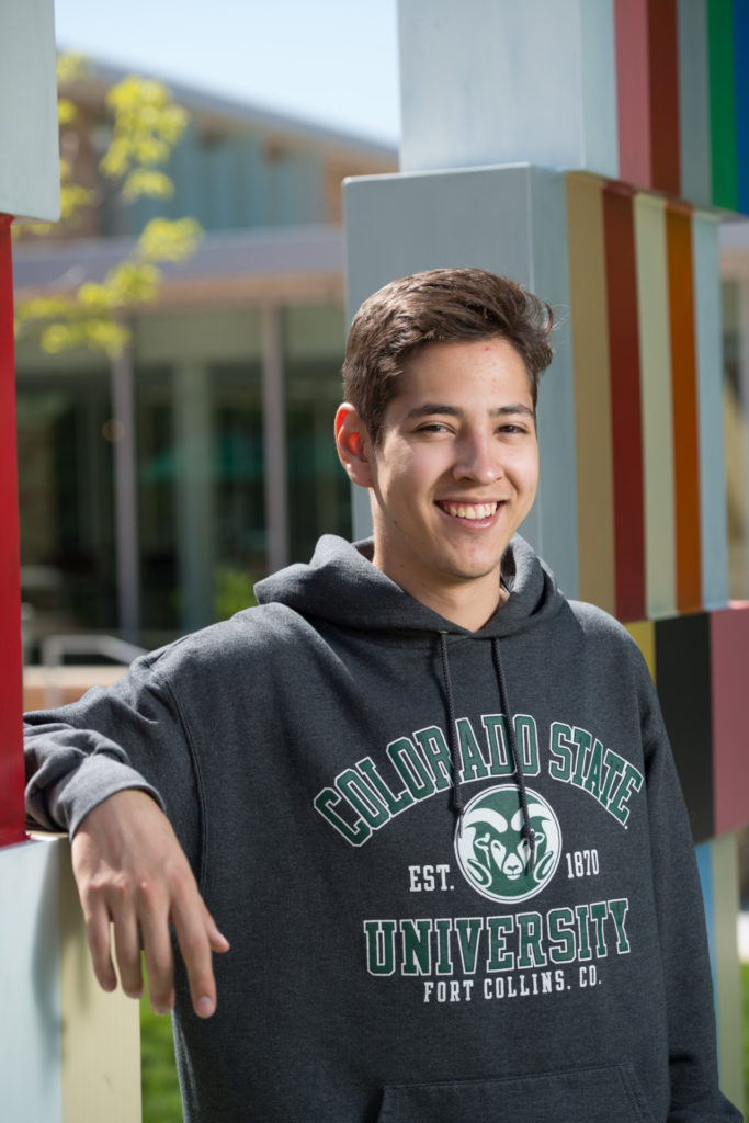 Luis Gomez Wulschner, majoring in neuroscience, respresented his recently established undergraduate program in the CURC event. (Photo: John Eisele/Colorado State University)
