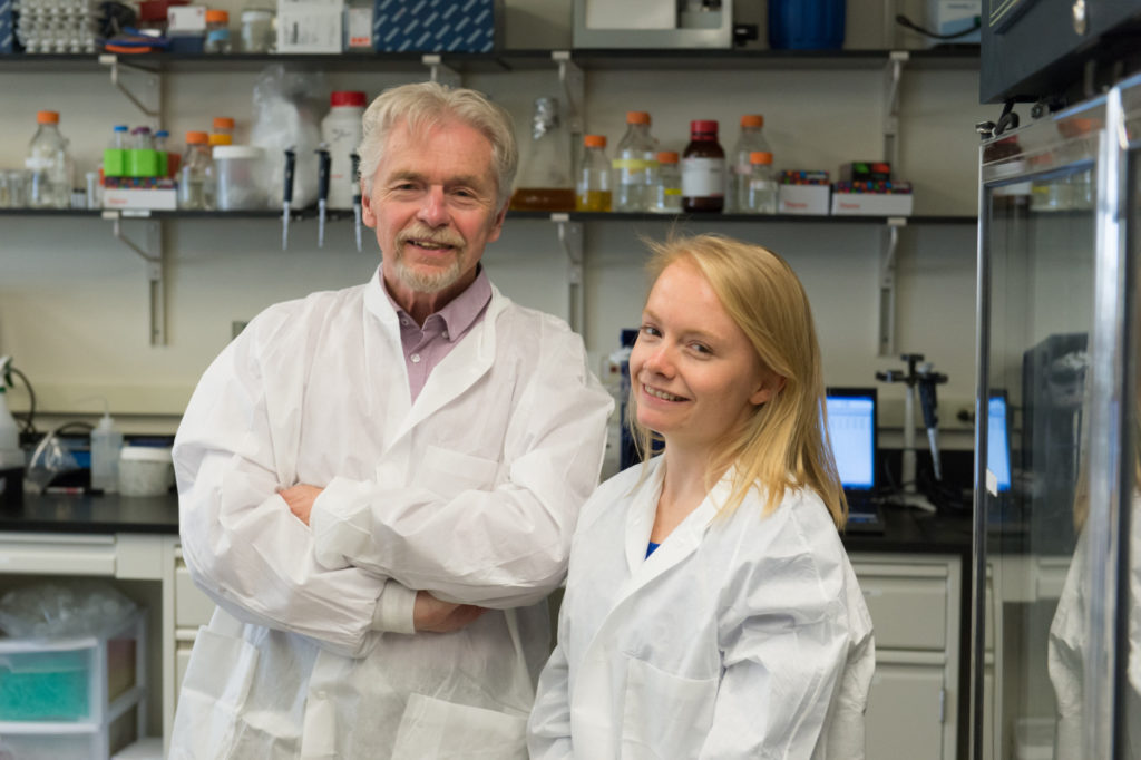 Dr. Ed Hoover and DVM/PhD student Kristen Davenport do prion research. May 14, 2015