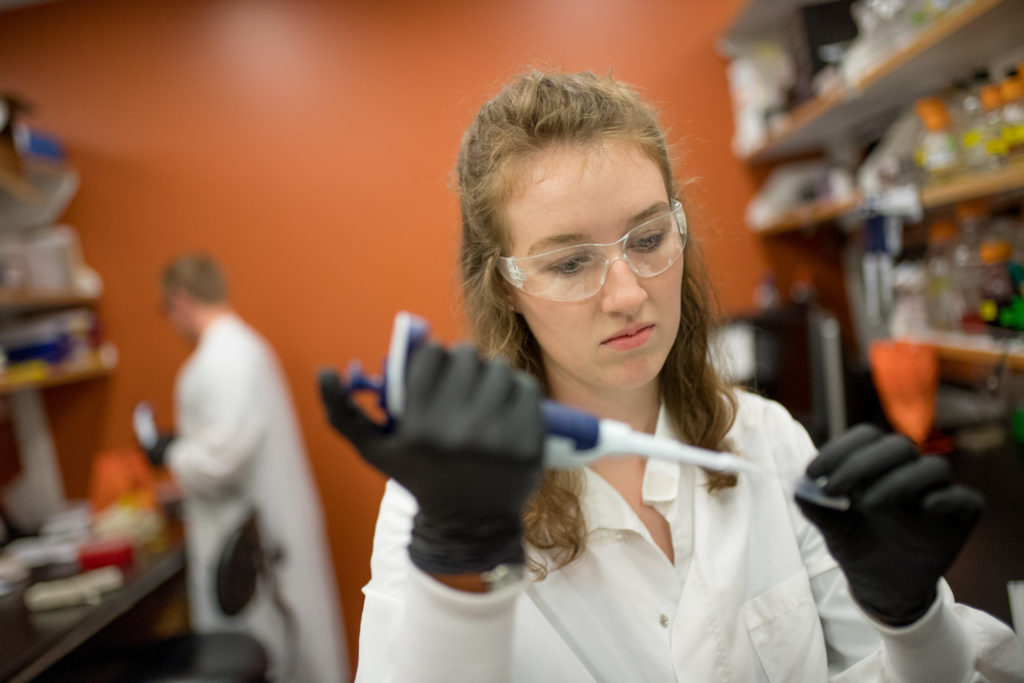 Microbiology student Jordanne Lesher earned a Best in Show award in the CURC event. (Photo: Joe A. Mendoza/Colorado State University)