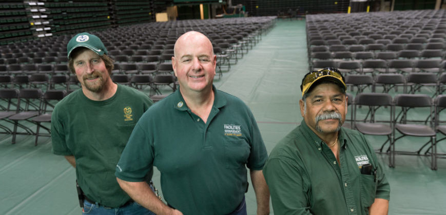 Ernie Hinojosa, Joel Cromley, and Brian Taylor, with Facilities General Services in Moby Arena