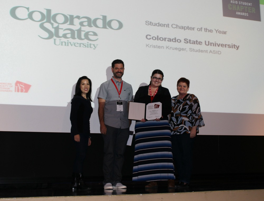 Left To Right ASID National President Charrisse Johnston Honorable Mention Winner CSU Student Chapter Kristen Krueger And