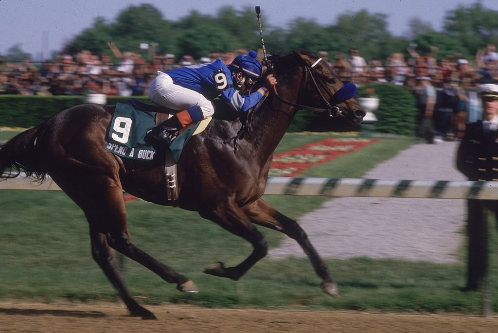 UNITED STATES - MAY 04: Horse Racing: Kentucky Derby, Angel Cordero Jr, in action aboard Spend A Buck (9) during race at Churchill Downs, Louisville, KY 5/4/1985 (Photo by Heinz Kluetmeier/Sports Illustrated/Getty Images) (SetNumber: X31454)