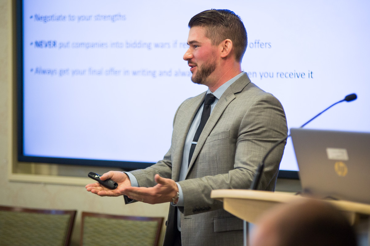 Daniel Monroe, Executive Sourcing Advisor at Charles Schwab, talks to graduate students