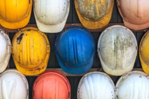 colorful hard hats construction
