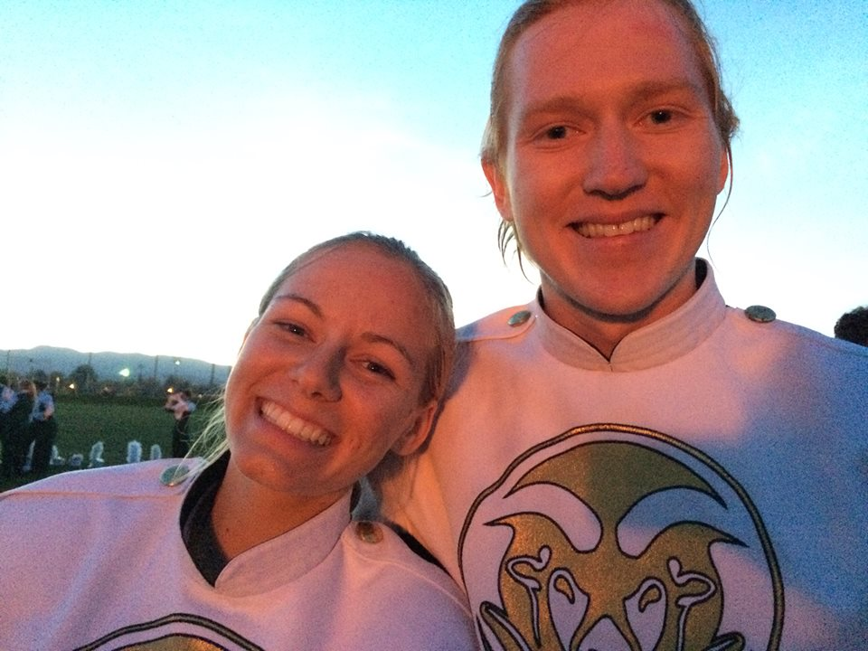 Neuroscience students Trenton and Delaney Leffel in CSU marching band uniforms.