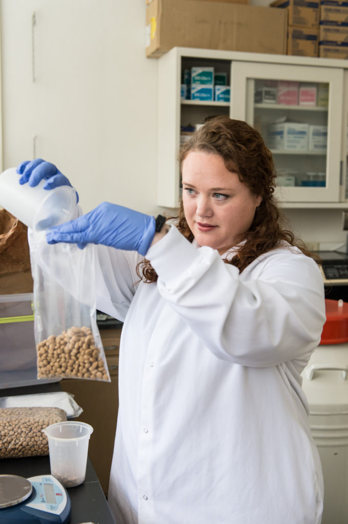 Colorado State University Environmental and Radiological Health Sciences FGT predoctoral Genevieve Forster weighs dog food samples in Elizabeth Ryan's lab, January 6, 2015.