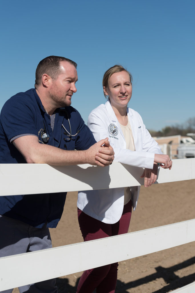 Colorado State University Veterinary student Ray Vincent and University of Colorado medical student Mandi Ellgen share ideas on working in rural communities, April 5, 2017 during an inaugural meeting of a partnership with the CU School of Medicine Rural Track Program and CSU's USDA Veterinary Services Grant Program. The students discussed One Health, rural medicine, and future collaborative exchanges between the DVM and MD programs.