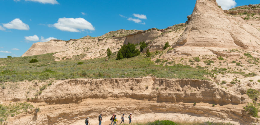 From a distance, students walking in Pawnee National Grassland