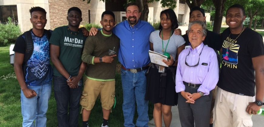 Tony Frank and Senator Kefalas with high school students at the Black Issues forum