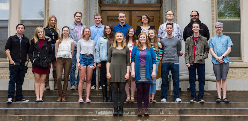 Collegian Editorial Board on Admin building steps