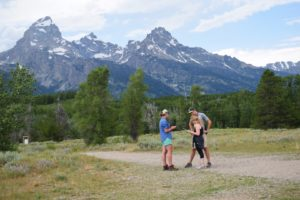 researcher administering survey in Grand Teton NP