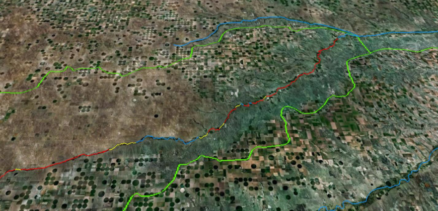 color image of the Arikaree River using Google Earth