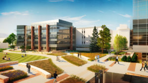 artist's rendering in color of the new Health Education Outreach Center at CSU
