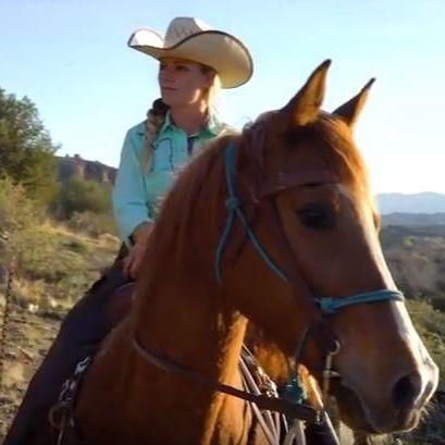 Sara Burris on her horse.