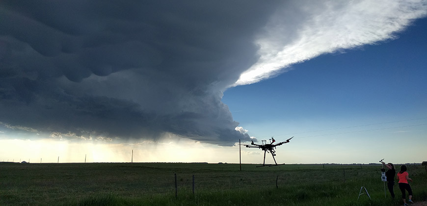 drone flying into storm