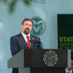 color photo of CSU President Tony Frank at 2017 Fall Address