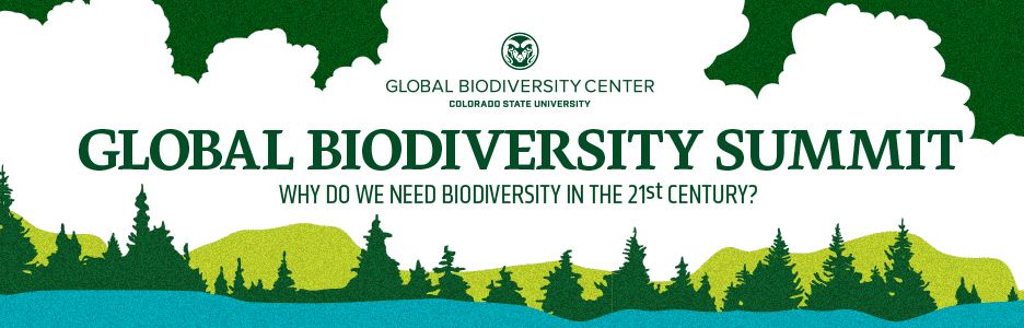color photo of a web banner for the Global Biodiversity Summit, showing trees, mountains and water