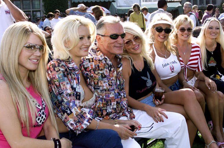 Hugh Hefner with Playmates in 2010