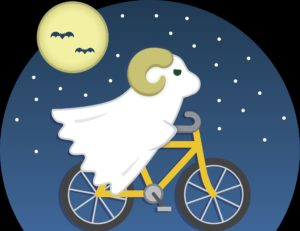 graphic of Cam the Ram riding a bike dressed as a ghost