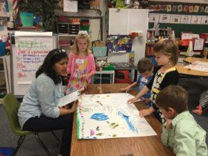 Meena Balgopal with school kids
