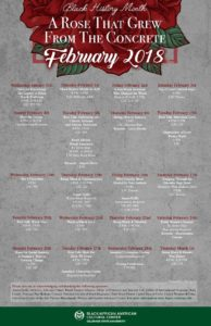 "Calendar of Black History Month events, with a red rose and the quote ""a rose that grew from the concrete,"" by Tupac Shakur"