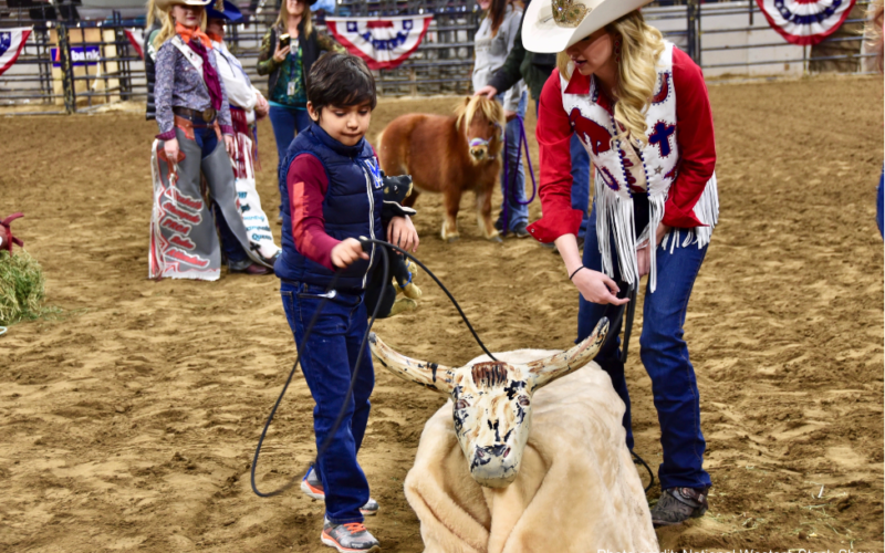 Exceptional Rodeo participant roping a fake bull prop.
